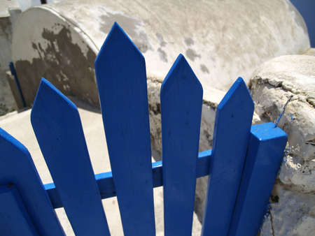 Detail of gate on Santorini island, Greece Stock Photo