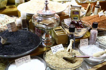 Spices and aromatic salt on the counter