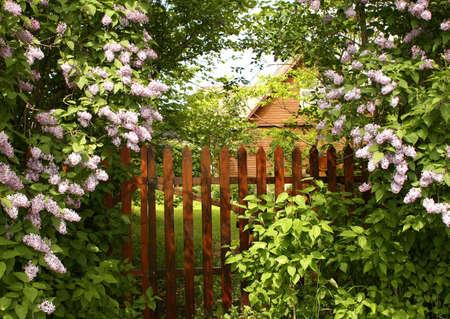 Secret entrance to the garden Stock Photo