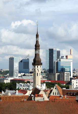 View of old and modern Tallinn, Estonia