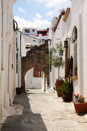 Street in Lindos - Rhodes island, Greece Stock Photo