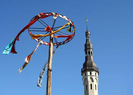 Tallinn, Estonia - June 5, 2010: Decoration and Tower on Town Hall Square. Tallinn Old Town Days