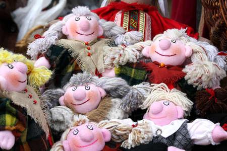 Funny hand made dolls on the market. Tallinn, Estonia Stock Photo