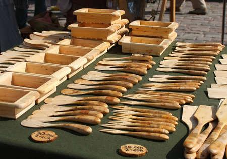 Wooden tableware in market. Tallinn, Estonia Stock Photo