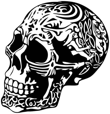 scull: skull with a decorative carving