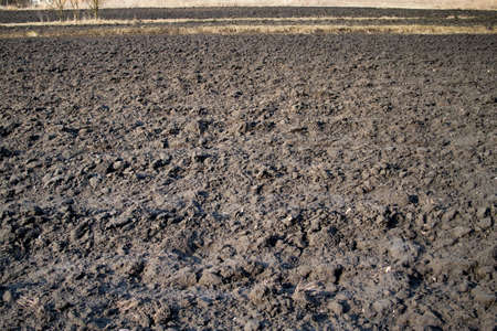 Plowed Field In Spring Ready For Cultivation.