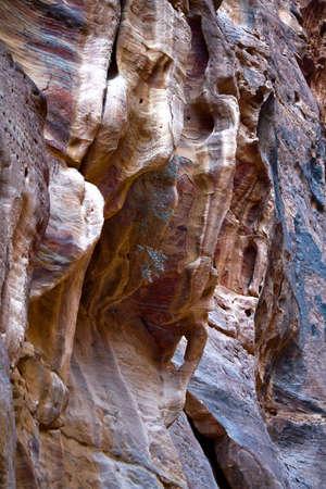 Fancy shapes of rocks. The Siq at Petra, Jordan