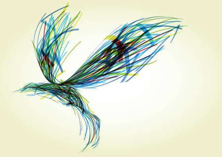 flying abstract bird, consisting of randomly dispersed colored ribbons Stock Photo