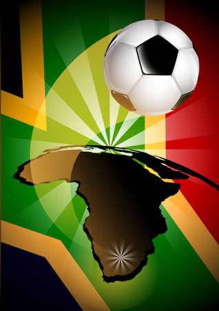 Afrique du Sud Flag & Soccer Ball arri�re-plan
