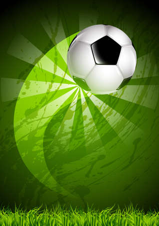 Soccer ball, flying over the curved trajectory, on a dirty background