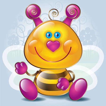 Cartoon little Bee  Stock Vector - 8254873