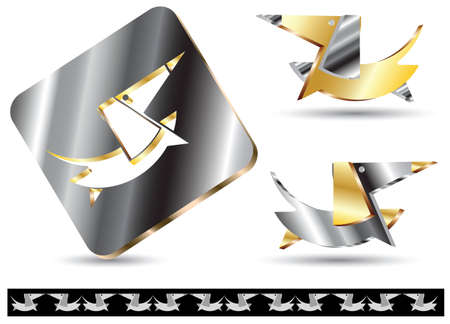 Symbols dogs from the precious metal. Breed Dachshund Illustration