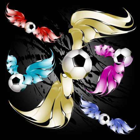 Colorful soccer balls flying cruise on the background of dirty spray Illustration