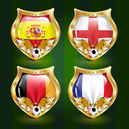 football emblem: Spain, England, Germany, France