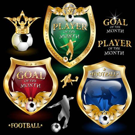 football emblem on a black background  Vector