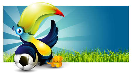 Toucan bird sitting on the grass and rests on a soccer ball Vector