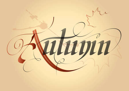 word autumn, written in Gothic letters on the old paper
