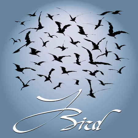 migration: Flock of birds soaring in the sky against a background of the solar disk Illustration