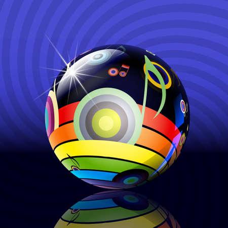 brille le ballon avec une image musicale d'un arc en ciel et la musique Illustration