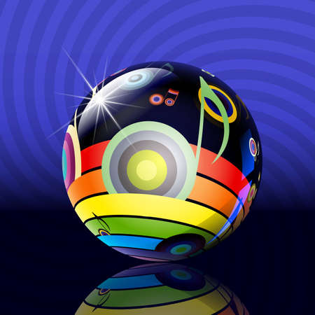 shining the ball with a musical picture of a rainbow and music Illustration