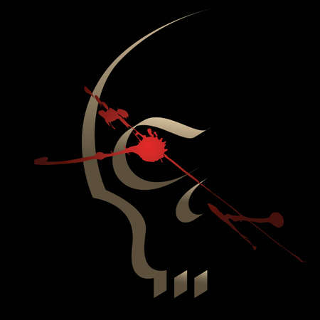 silhouette du cr�ne, peint de fa�on calligraphique Illustration