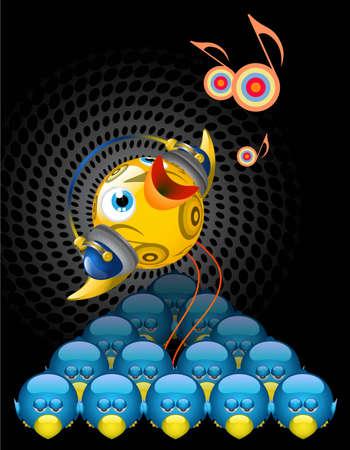Illustration de Twitter Bird - brillant, unique, musicale, chant.