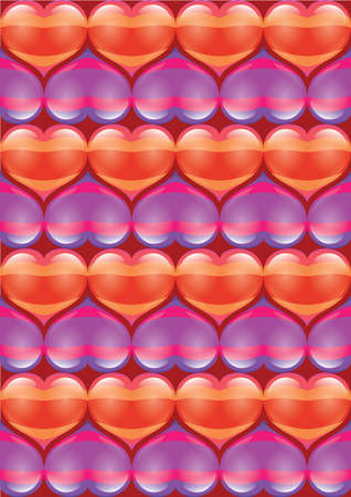 Abstract bright glowing Heart background. Valentines Day. Illustration