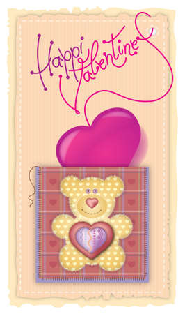 Greeting Card Valentines Day. Merry embroidered teddy bear with a heart on his chest