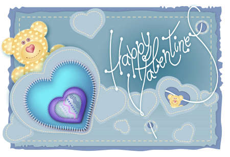 Greeting Card Valentines Day. Merry embroidered teddy bear with a heart on his chest Vector