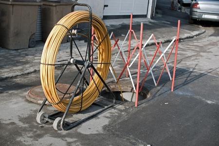 Travaux dans les égouts, passage de câble, restauration  Banque d'images - 9023083