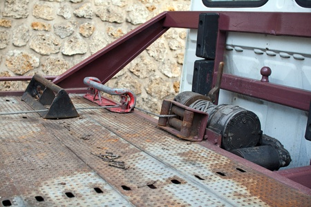 Winch of a tow truck  Banque d'images