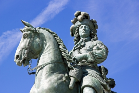 equestrian statue of Louis XIV castle of Versailles (France) Stock Photo
