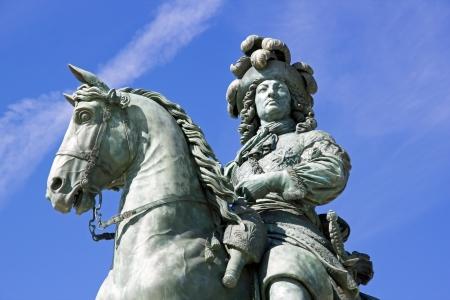 versailles: equestrian statue of Louis XIV castle of Versailles (France) Stock Photo