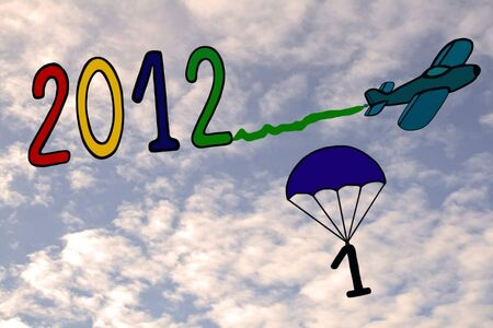 2012 new year, banner, airplane and parachute  photo