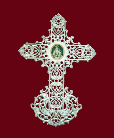 silver cross: holy picture, silver cross of the 19th Stock Photo