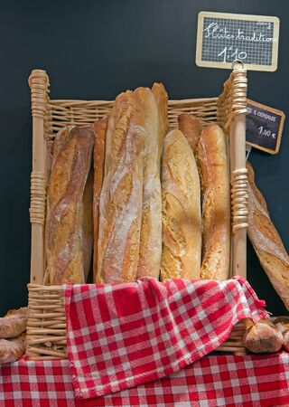 basketful: bread for sale from the baker in France Europe Stock Photo