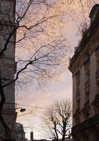 sunset in a Paris street in winter photo