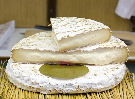 brie de Meaux cheese, a specialty of the Paris region Stock Photo