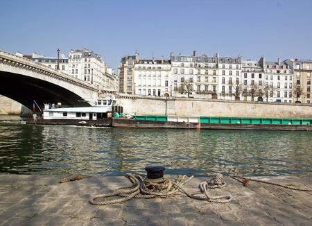 passage of a barge on the Seine  Paris France