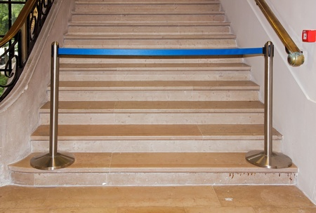 prohibits: stairs of an office building, inside prohibits crossing  France Europe  Stock Photo