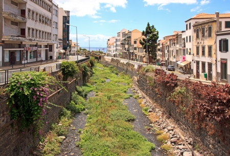 dry riverbed in Funchal during the summer season  Madeira  photo