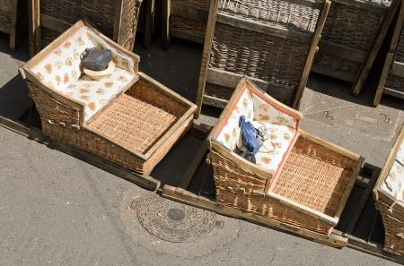 Rotin traîneau Monte, prêt pour une nouvelle descente de Madère Banque d'images - 14525672
