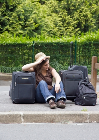 hitchhiker, great moment of discouragement   Stock Photo