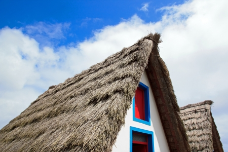 Reconstruction of a roof of thatch of a typical house of Madeira Stock Photo