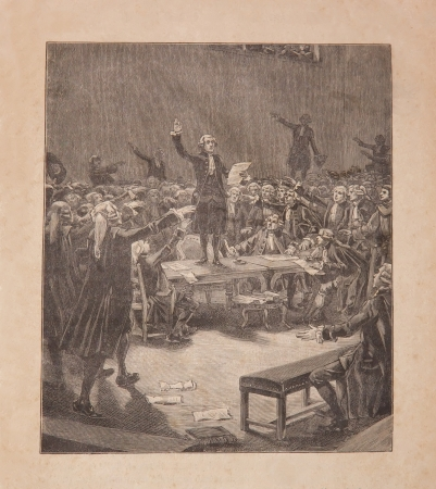 eacute: serment du jeu de paume, french revolution June 20, 1789  19th century old engraving Editorial