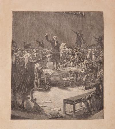 Serment du jeu de paume, révolution française Juin 20, 1789 gravure du 19e siècle vieux Banque d'images - 14817979