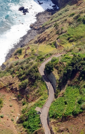 sinuous: Sinuous road between ocean and mountain  Madeira