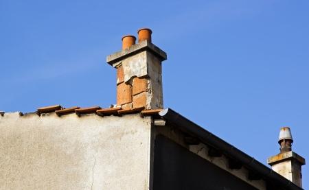 Défectueux foyer extérieur, réparation travaux à prévoir Banque d'images