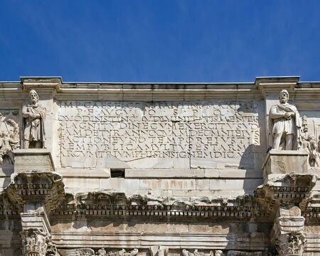 Arch of Constantine, the text of the pediment  ancient Rome Italy  Editorial