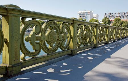 Mirabeau bridge, rail of 19 th century  Paris France  Stock Photo
